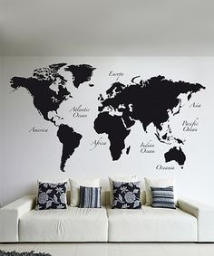 Another great find on #zulily! Black World Map Wall Decal Set #zulilyfinds