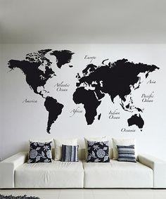 Look at this #zulilyfind! Black World Map Wall Decal Set #zulilyfinds