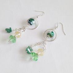 Green aventurine earrings with fire agate beads by La pietra blu di Avalon