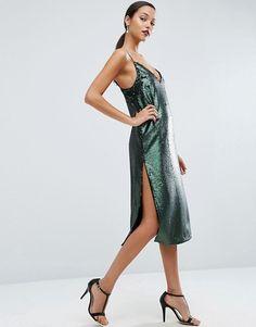 ASOS | ASOS Sequin Plunge Splice Midi Dress