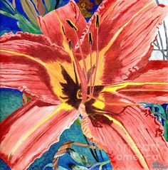 Original painting of a tiger of a  lily by Lori Morris.