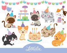 Cat party clipart - cat clipart - 17036