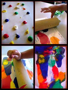 Roll a rolling pin over dabs of paint painting activities, process art, tea Projects For Kids, Art Projects, Crafts For Kids, Arts And Crafts, Painting Activities, Toddler Art, Process Art, Preschool Art, Toddler Activities