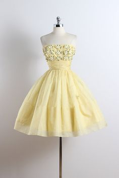 1950's 'Buttercup' Tulle & Organza Strapless Dress with Rhinestones & Floral Embroidery