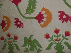 MINT 'PATRIOTIC EAGLE AND COXCOMB' ANTIQUE APPLIQUE QUILT,RED,GREEN,CHEDDAR | eBay