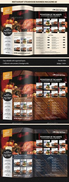 Restaurant SteakHouse Magazine Ad by GilleDeVille Description A rustic and traditional looking Restaurant Steakhouse Magazine Ad. Advertise your menus or make promotions with this
