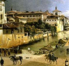 Veduta del Naviglio di Porta Romana con l'Ospedale Maggiore 1835