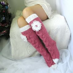 Long pink socks Knee high Socks Hand knit socks by mymomsshop1