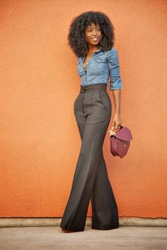 What are you wearing? Street style inspiration :: High waisted trousers