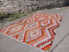 """One-der - eine Art DIAMOND geometrische antiken Antalya Kilim Teppich - Bereich Teppich KELIM Teppich 83"""" X117"""" Jahrgang Boden Teppich 211 x 298 cm"""