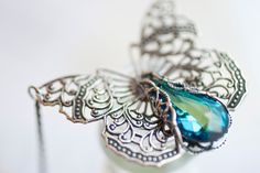 Butterfly Necklace Victorian Filigree  by ClassicKeepsakes on Etsy, $49.00