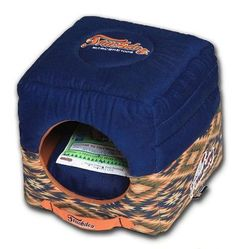 Touchdog 70's Vintage-Tribal Throwback Convertible and Reversible Squared 2-in-1 Collapsible Dog House Bed