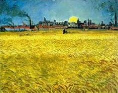 Pôr-do-Sol_Campo de Trigo - Van Gogh - O pintor holandês Vincent Van Gogh explorou em suas obras as tonalidades da cor amarela de forma muito intensa. A cor amarela significa luz, calor, descontração, otimismo e alegria. O amarelo simboliza o sol, o verão, a prosperidade e a felicidade. É uma cor inspiradora e que desperta a criatividade. Estimula as atividades mentais e o raciocínio.