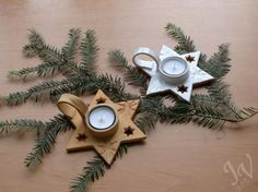 Homemade Clay, Diy Clay, Clay Crafts, Homemade Gifts, Clay Christmas Decorations, Holiday Ornaments, Christmas Crafts, Ceramic Candle Holders, Homemade Christmas Gifts
