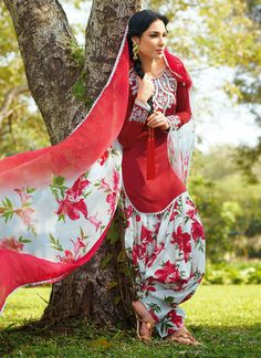 0789050426810c Blowing Red Cotton Jacquard Patiala Suit