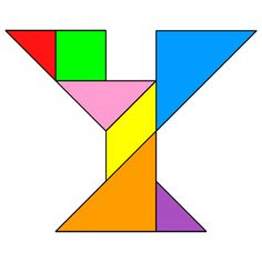 Tangram Letter Y - Tangram solution #118 - Providing teachers and pupils with tangram puzzle activities