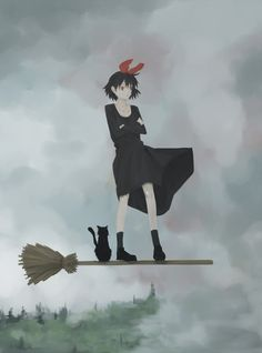 fivestars: classics: black hair bow broom broom riding cat ghibli hair bow jiji (character) kiki kiki?s delivery service red eyes witch またがるんじゃなくって、立つのがイマドキのスタイル。 (via gkojaz, d-flag) 2009-09-15