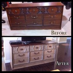 Old dresser turned into tv stand.  Painted with Annie sloan chalk paint.  Body was done in coco with clear and dark wax.  Top done in mixed brown (olive and emperors silk) with dark wax.