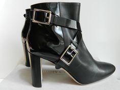 Jimmy Choo Dee Boot High Heel Black Leather Bootie Buckle Strap NIB $1195 39 41 #JimmyChoo #AnkleBoots