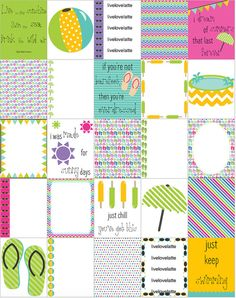 SUMMER POOL PARTY (Blue Yellow Green) Erin Condren (Vertical) Planner Stickers - digital - INSTANT DOWNLOAD by LiveLoveLatte on Easy