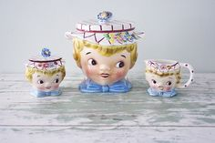 1950's Lefton Little Miss Dainty set - Cookie Jar, Sugar Bowl and Creamer tea time collectable