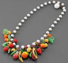 30's Vintage Glass Fruit Necklace, sold by SlapMeFabulous on Etsy