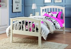 Create a timeless look for your daughter's room with our white solid wood twin bed. This charming bed is sturdy with quality all wood construction and beautiful arch detail. Twin Bed Details: Solid an