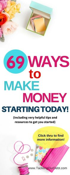 Earn Money Online From Home - Ways to Make Money! Need to find new ways to earn money? Here are 69 ideas on how to make money. And the best part is that you can get started today, and make money based on your flexible schedule. Plus, you will find very helpful tips and resources to get you started making money. Click thru to learn more! You may have signed up to take paid surveys in the past and didn't make any money because you didn't know the correct way to get started!