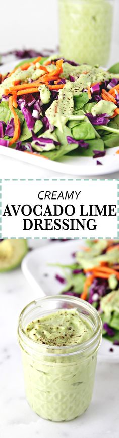 The BEST creamy avocado lime dressing by JarOfLemons.com!