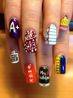back to school nails - for the sake of ease i would probably choose one design and do it on all of my fingers