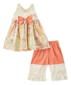 Look at this Ivory Vintage Signs Dress & Capri Pants - Infant, Kids & Tween on #zulily today!