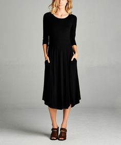 This Black Pocket Midi Dress is perfect! #zulilyfinds