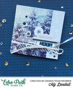 """Create a mini accordion style album with the """"Hello Winter"""" collection by #EchoParkPaper.  Designer Aly Dosdall shares her album, and tutorial, on the Echo Park blog!"""