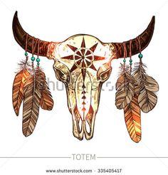 © alexrockheart - Buffalo Skull With Feathers. Deer Skull Drawing, Cow Skull Art, Skull Sketch, Bull Skulls, Deer Skulls, Animal Skulls, Cow Skull Tattoos, Bull Tattoos, Tatoos