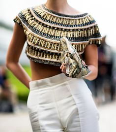A decorative crop top offsets simple high-waist trousers. Image courtesy of Adam Katz Sinding