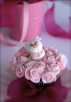 pink panther cupcakes way too cute! Pretty Cakes, Cute Cakes, Beautiful Cakes, Amazing Cakes, Fancy Cupcakes, Yummy Cupcakes, Cupcake Cookies, Teddy Bear Cakes, Teddy Bears