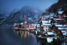 Fairy-tale village Hallstatt by Ivan Smelov on Adobe Photography, World Photography, Beach House Lighting, Lake Beach, Travel Goals, Small Towns, Vacation Trips, Great Places, Places To Visit