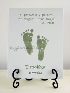 Dr. Suess: Newborn Handprint & Footprint Pottery Keepsake on Etsy, $45.00