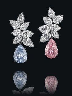 A Pair of Colored Diamond and Diamond Ear Pendants, by Bulgari