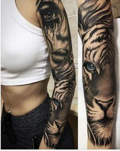 50 Powerful Lion Tattoo Ideas to Enhance Your Personality - Tiger tattoo sleeve. - 50 Powerful Lion Tattoo Ideas to Enhance Your Personality – Tiger tattoo sleeve — 50 Powerful - Girls With Sleeve Tattoos, Best Sleeve Tattoos, Boy Tattoos, Tattoo Girls, Body Art Tattoos, Tattoos For Guys, Dragon Tattoos, Arm Sleeve Tattoos For Women, Tatoos