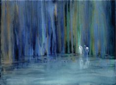 Two Egrets (painting that I'd like to see on a tapestry or rough canvass)