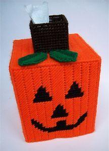 Plastic Canvas Patterns   Halloween Pumpkin Tissue Topper Plastic Canvas Pattern   eBay