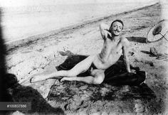Italian poet and writer Gabriele D'Annunzio lying naked on the beach. Francavilla al Mare, Get premium, high resolution news photos at Getty Images World Of Books, Playwright, Beach Pictures, World War I, Old Photos, Naked, Writer, Statue, Shit Happens