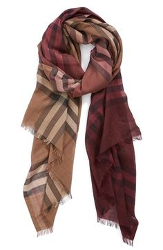 Burberry 'Ombré Check' Wool & Silk Scarf @nordstrom
