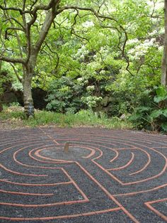 Cathedral style seven circuit labyrinth in the Sacred garden of Maliko in Maui. Very tranquil in the midst of the Kukui Grove.