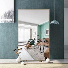 Modern Aluminum Alloy Thin Framed Full Length Floor Mirror - On Sale - Overstock - 30393628 - 71x31x1 - Gold Big Floor Mirrors, Big Mirror In Bedroom, Full Length Floor Mirror, Living Room Mirrors, Black Floor Mirror, Wall Mirror, A Frame Cabin, Large Furniture, Home Decor Outlet
