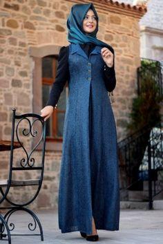 Pınar Şems Petrol Mavisi Uzun Yelek