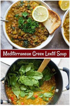 This green lentil soup is great for weeknight dinners. Finally, a lentil soup recipe that& jam-packed with Mediterranean flavors! Soup Appetizers Soup Appetizers dinners carb Soup Appetizers Appetizers with french onion Green Lentil Soup, Green Soup, Lentil Stew, Green Lentils, Vegetarian Soup, Healthy Soup, Vegetarian Recipes, Cooking Recipes, Healthy Recipes