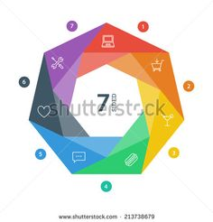 Seven sided flat shutter diagram template for your business presentation with icons. Vector infographic graphic design. - stock vector