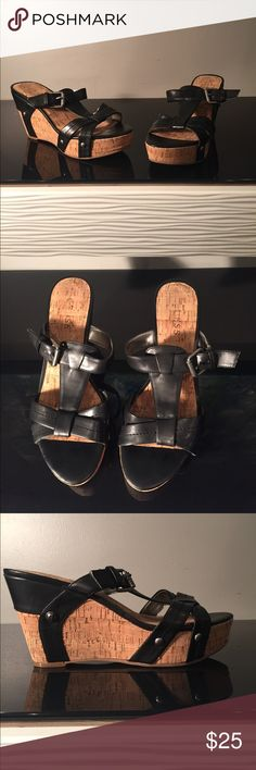 Guess platform wedge sandals with buckles Excellent condition, like new. Guess Shoes Sandals